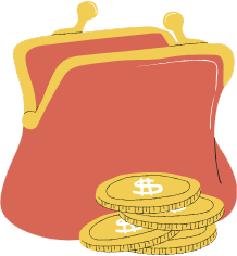 Traditional coin purse with coins illustration.