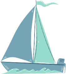 Illustration of a small blue sailboat.